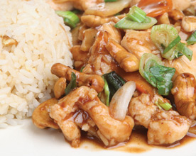 cashew chicken with steamed healthy brown rice
